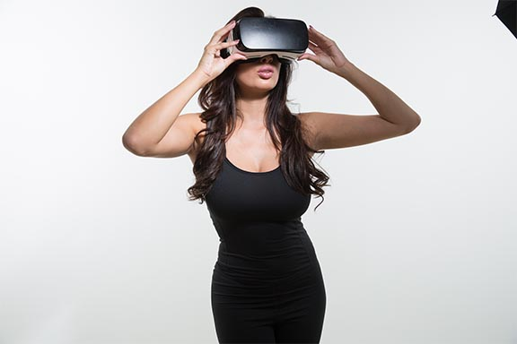 Anissa Kate Wearing Gear VR Headset