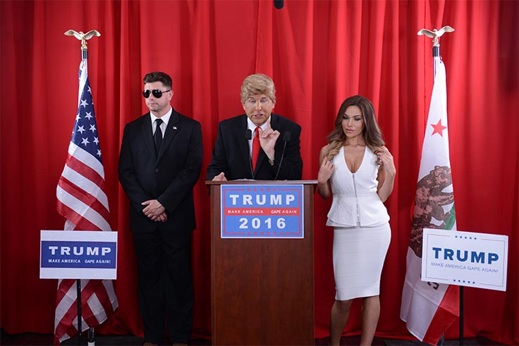 Donald Trump impersonator, along with porn star playing Melania Trump and extra as secret service in the Donald Trump VR Sex Tap Parody Press Conference