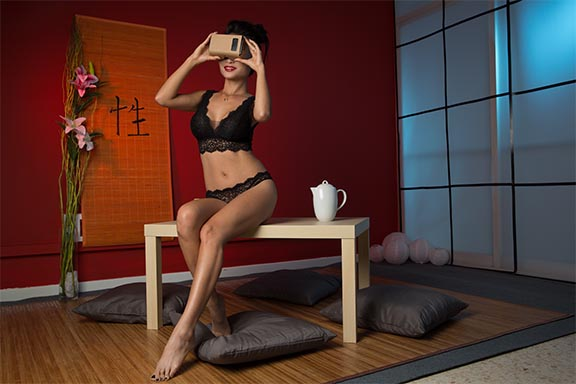 Pussy Cat wearing Google Cardboard on BaDoinkVR geisha VR porn set