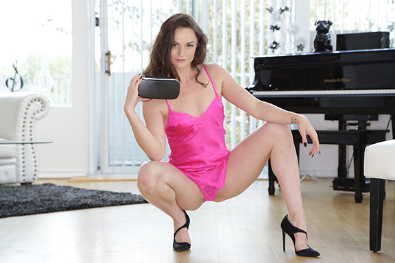 Tori Black in pink nightie posing for BaDoinkVR movie